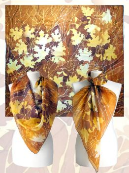 silk scarf Autumn Leaves - for sale by MinkuLul