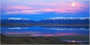 Moonrise over the Great Salt Lake by tourofnature