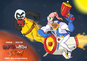 Earthworm Jim .:19th Anniversary:. by SpideyHog