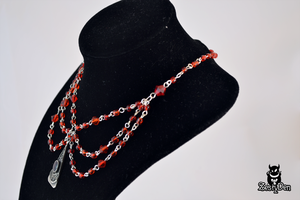 Red glass beads unique spider necklace by zestyden