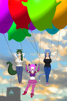 Flying with Balloons by AiblisTheBig