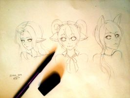 Headshot sketches WIP by watuni