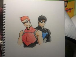 Red Arrow Nightwing Colour pencils by bountyDBZ