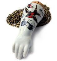 Tattooed Antique Doll arm Necklace 4 by asunder