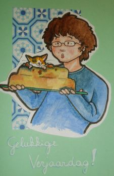 Kitty cake birthday card by vilijntje