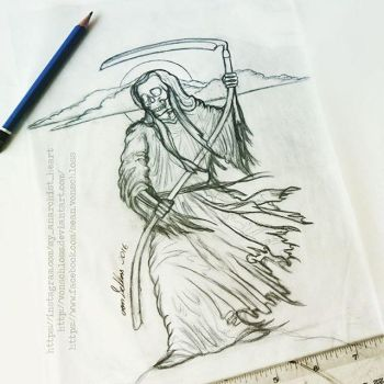 Custom Grim Reaper Tattoo Sketch by vonSchloss