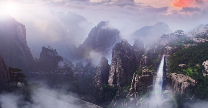 Somewhere between the misty mountains by GeneRazART