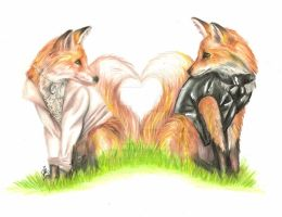 Red Fox Couple by ScarlettRoyale