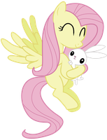 Fluttershy and Angel by lookitslaurie