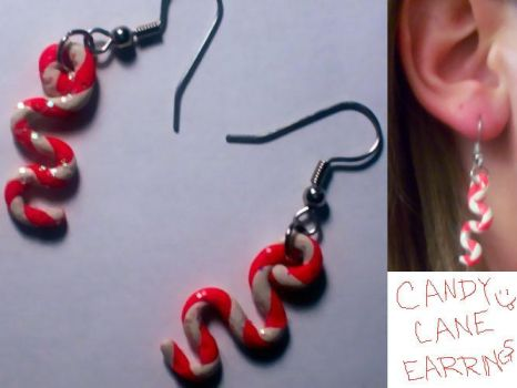 Candy Cane Earrings by mandafae