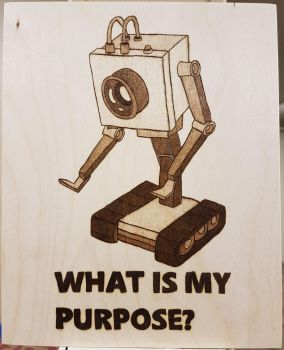 Woodburning - Rick's Butter Robot by Stepher17