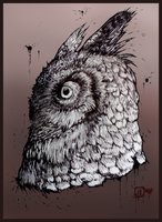 Horned Owl by MalthusWolf