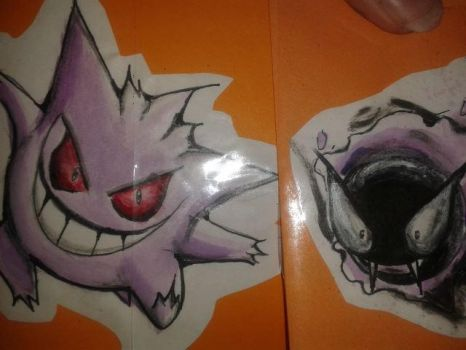 Gengar and Ghastly by whiteecho