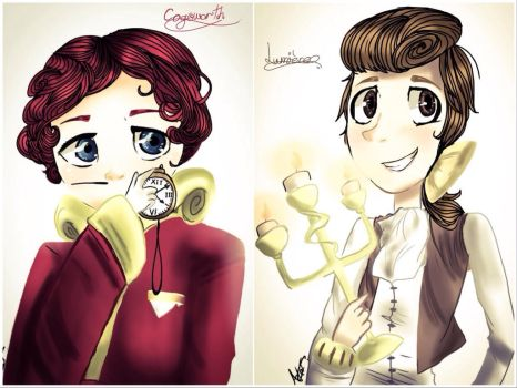 BatB - Cogsworth and Lumiere by MoonlightWolf17