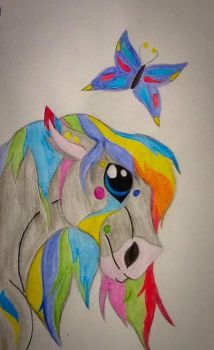 Rainbow Horse  by puppykittons