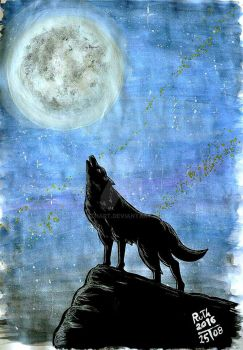 Wolf and Moon by ruthart
