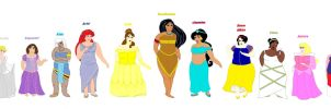 Plus Size Princesses Line up by ColdHeartedCupid