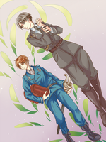 Commander Levi and riot squad officer Eren by Fuki03