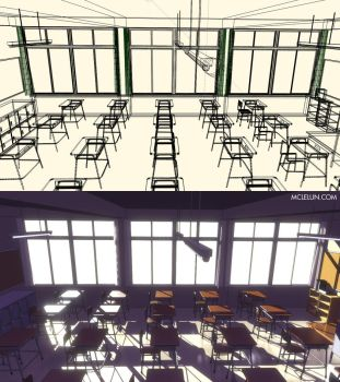 Anime Style Render Japanese Classroom by mclelun
