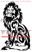 Seated Tribal Lion Tattoo by WildSpiritWolf