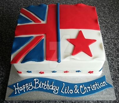 Dual Flag Cake (UK and Panama ) by clvmoore