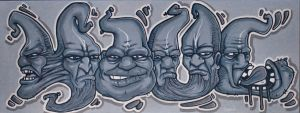 'Youl' graffiti with heads on canvas by YoulDesign