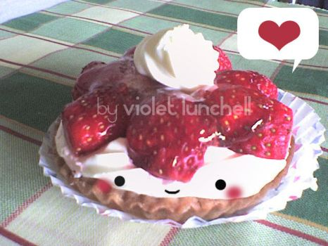 cute chibi strawberry cake by VioletLunchell