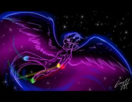 Spread your Wings Neon Pegasus by LinnyIllustrates