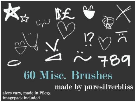 60 Misc. Brushes by puresilverbliss