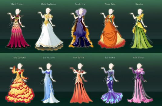 Commission : Flower themed royal gowns by fantazyme