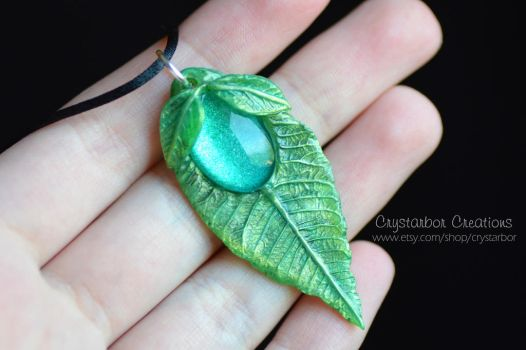 Elven Leaf Necklace | Woodland Polymer Clay by Crystarbor