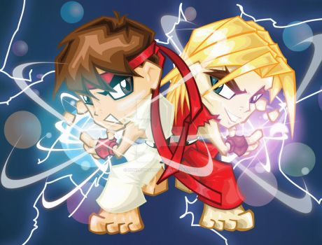 BFFs Ryu and Ken by bunleungart