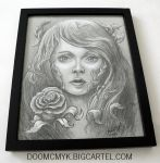 Poison Ivy Framed 8x10 Charcoal Drawing by DoomCMYK