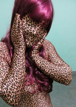 Leopard zentai and wig by 1982colin