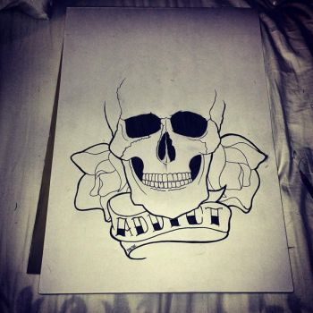 skull and banner by tswink13