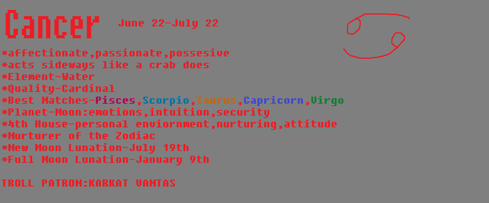 Interesting Zodiac Facts:Cancer(Homestuck Hint) by CALIBORNOuS