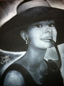 Audrey Hepburn portrait by HeatherWortleyArt