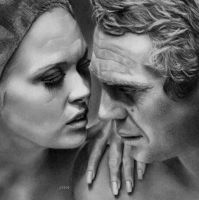 Steve McQueen and Faye Dunaway by ChrisWoottonArt