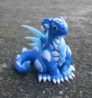 Frost Blue and White Polymer Clay Dice Dragon by MiniMythicalMonsters
