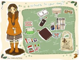 .what's in your bag?. by La-lelulelo