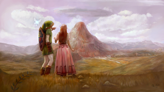 Zelda OoT: Link and Malon by AlineMendes