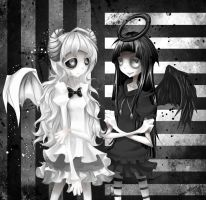 white demon and black angel by Meammy