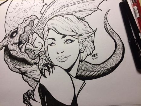 Daily Ink Warmup: Kitty Pryde and Lockheed by Pixelated-Takkun