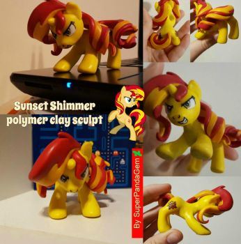 MLP Sunset Shimmer sculpt - polymer clay by SuperPandaGem