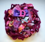 violet and pink initial brooch by queenofexecutions