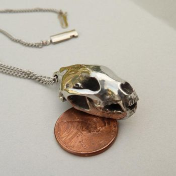 Polished Pewter Wolverine Skull Necklace by PeteRhodesDesigns