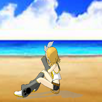 Rin on the beach by 8doggone
