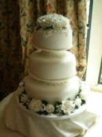 Delicate Blossoms wedding cake by Dragonsanddaffodils