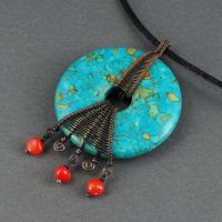 Mosaic Turquoise Donut Necklace by Gailavira