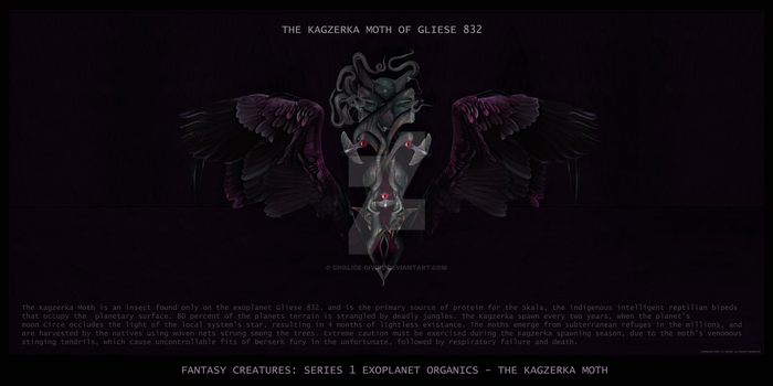 THE KAGZERKA MOTH OF GLIESE 832 : FANTASY CREATURE by chalice-divine